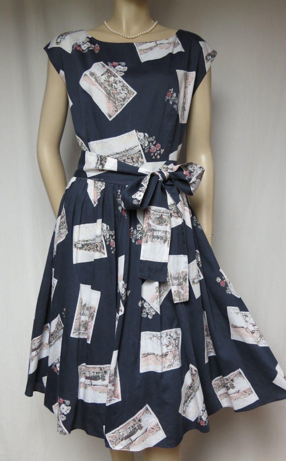Laura Ashley Sommerkleid 40 Baumwolle blau weiß Blaumen Postkarten Urlaub