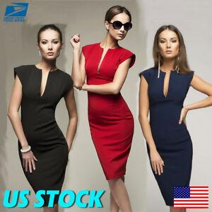 Womens OL Office Business Suit Solid Pencil Bodycon Formal Midi Dress Split...
