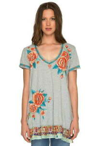 178-Johnny-Was-Silk-Trim-Embroidered-Tunic-Small-2-4-Bold-Embroidery-V-Neck