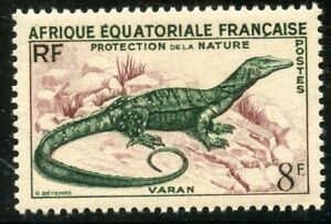 TIMBRE-COLONIES-FRANCAISES-AFRIQUE-EQUATORIALE-NEUF-N-231-FAUNE-VARAN