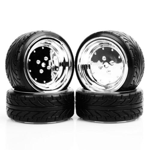 12mm Hex 6mm Offset 4PCS Wheels 1//10 Drift RC Car On-Road Tires/&Rims For HPI HSP