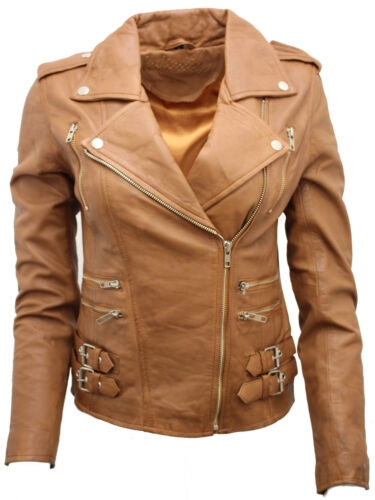 Real Tan Nappa 100 Leather Biker Jacket Lamb Ladies qax6wpRFF
