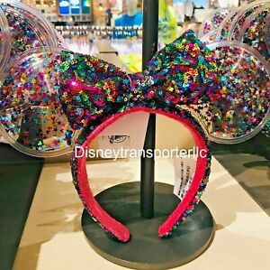 Disney-Park-Sparkle-Minnie-Mickey-Ears-Rainbow-Star-Confetti-Sequin-Headband