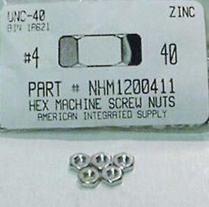 #4-40 Hex Machine Screw Nuts Steel Zinc Plated (200)