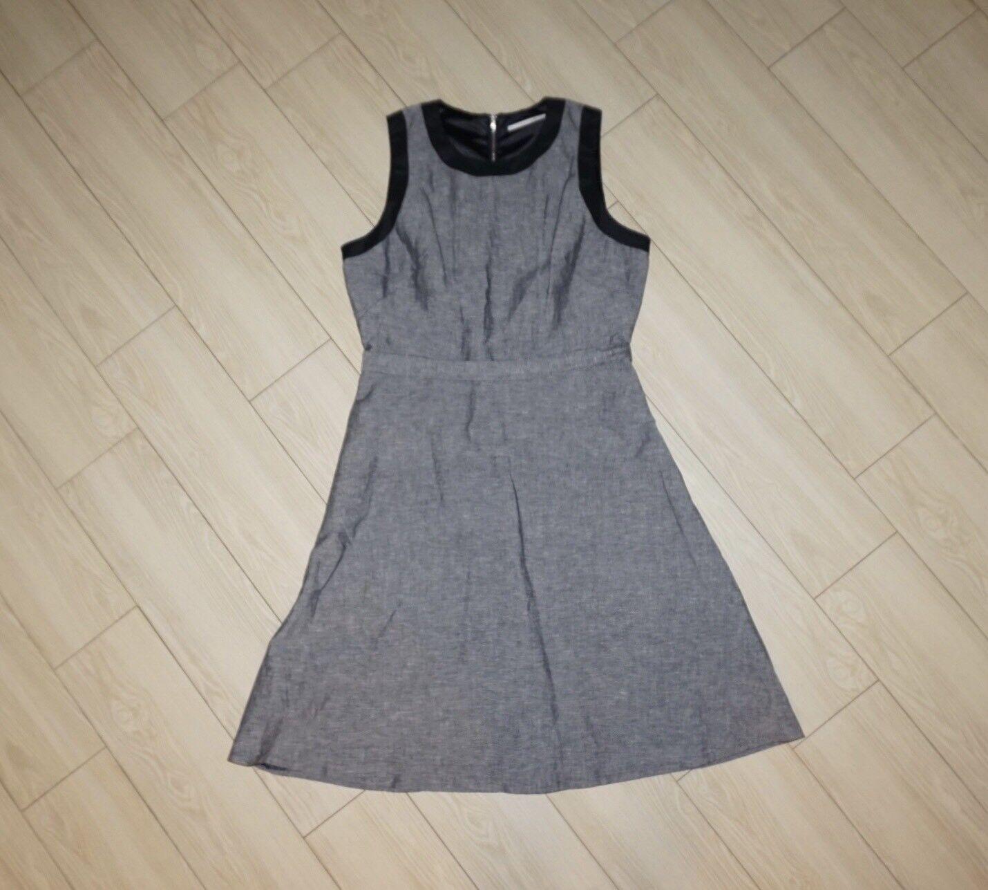 NEW Womens TAHARI Linen Blend Dress Career Lined Sleeveless Crosshatch Gray 6