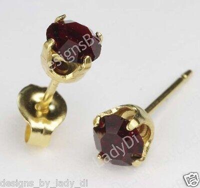 Studex Sensitive Gold 5mm January Red Simulated Garnet Stud Earrings