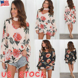 7f839077f6272 Plus Size Womens Choker V Neck Floral T-Shirt Ladies Casual Loose ...