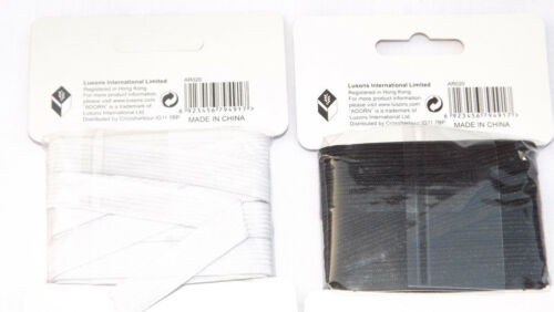 4 METER WHITE/& BLACK QUALITY SEWING ELASTIC FLAT WIDTHS 12MM X 4M DRESSMAKING