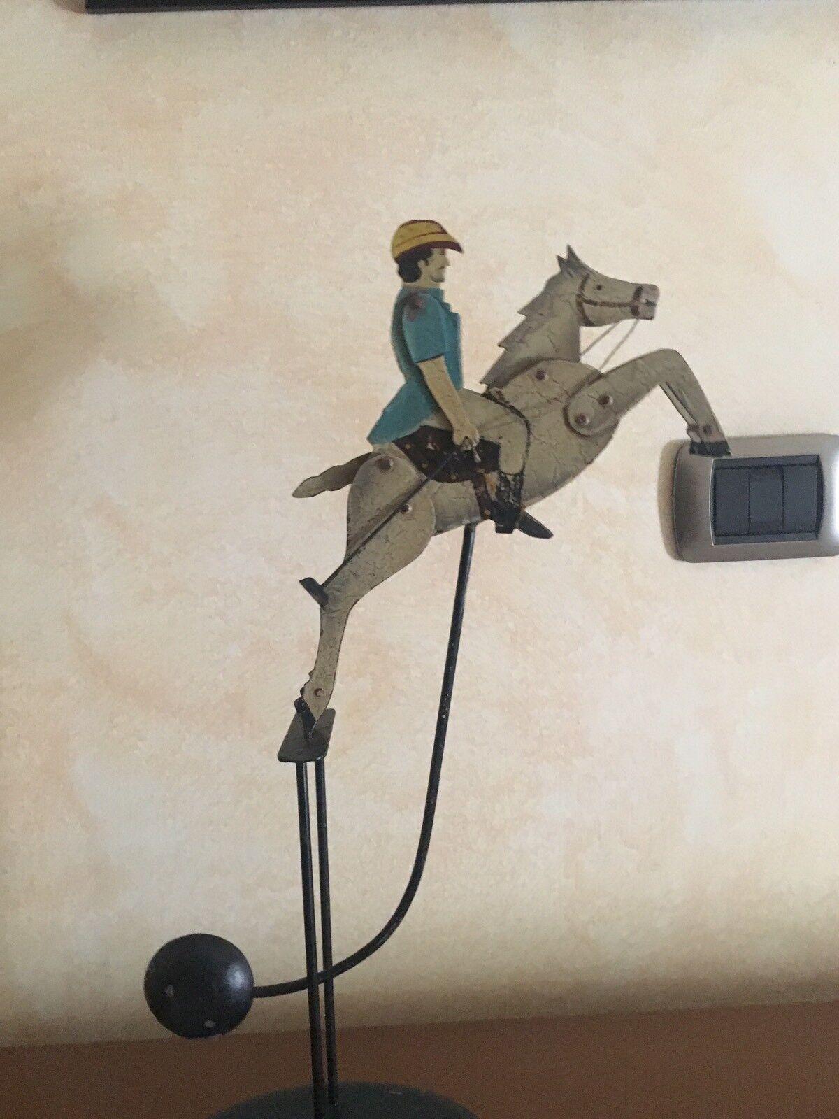 Pendolo Cavallo Giocattolo Latta årgång Metallo Giocatore Polo A Cavallo