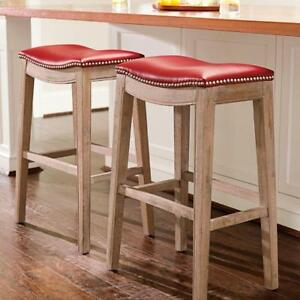 Details About Leather Nailhead Seat Light Oak Wood Saddle Bar Stool 30 Height 10 Colors