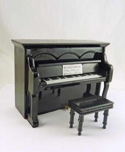 MM707 Dollhouse Miniature Black Upright Piano w//Bench Music