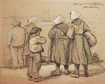 Art Drawings Gaston Blondeau French Drawing Sables D'olonne Port Fishermen Painting France Warm And Windproof
