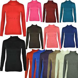 Mesdames skinny à encolure polo à manches longues câble tricot knitwear jumper noir 8-12