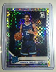 2019-20-Panini-Optic-Rated-Rookie-Brandon-Clarke-Checkerboard-Prizm-SP-RC-no-194