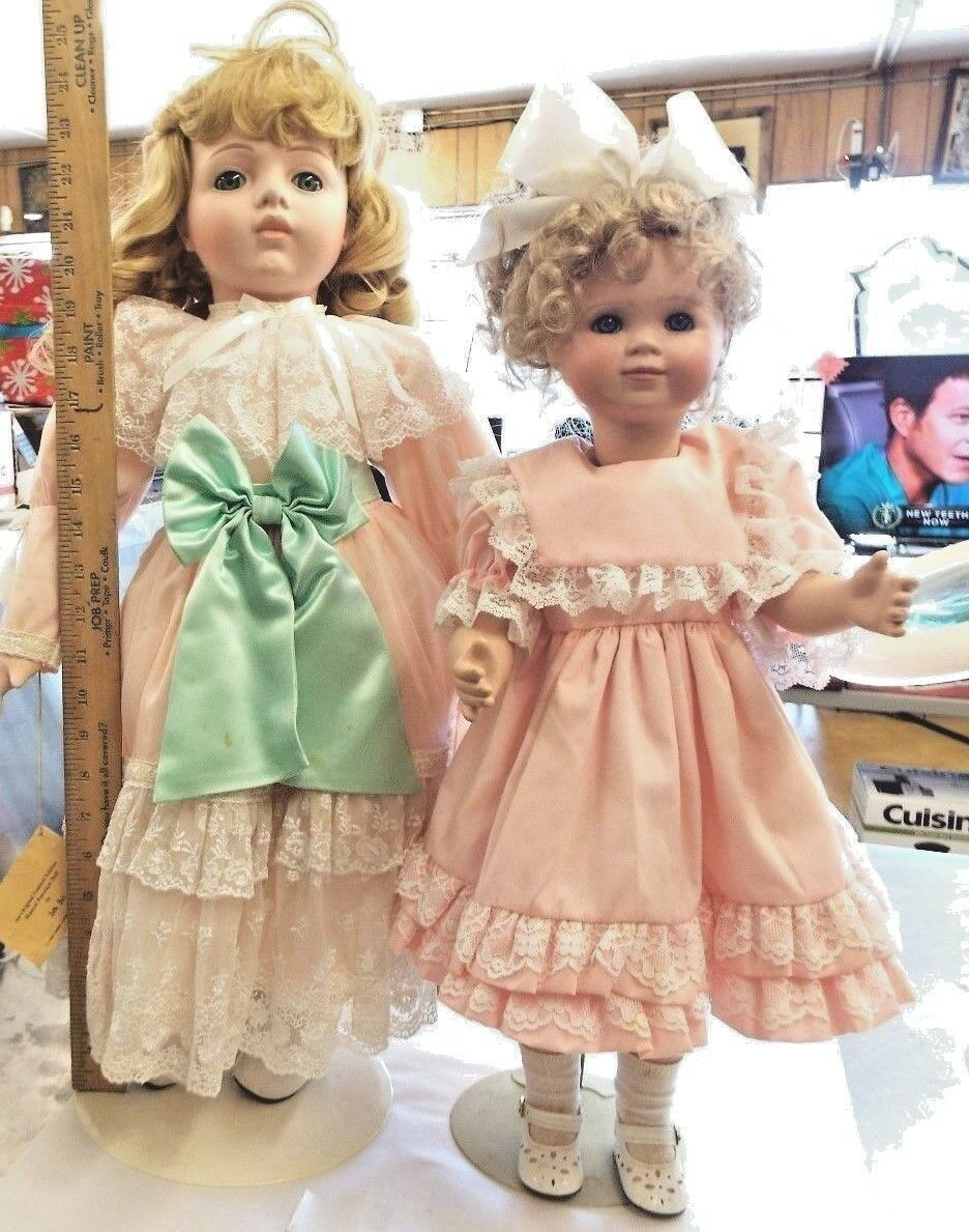 Betty Jane Carter Porcelain dolls 25 inch tall and 22inch tall   two dolls