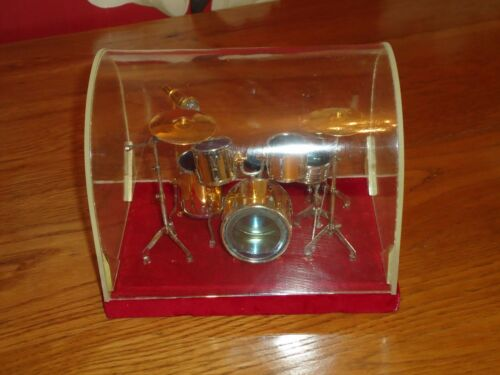 Set For display //Musical Instrument Nice Gift Miniature Drum Kit on Plinth