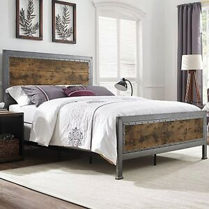 NEW Queen Size Metal Bed Frame Industrial Brown Rustic Oak ...