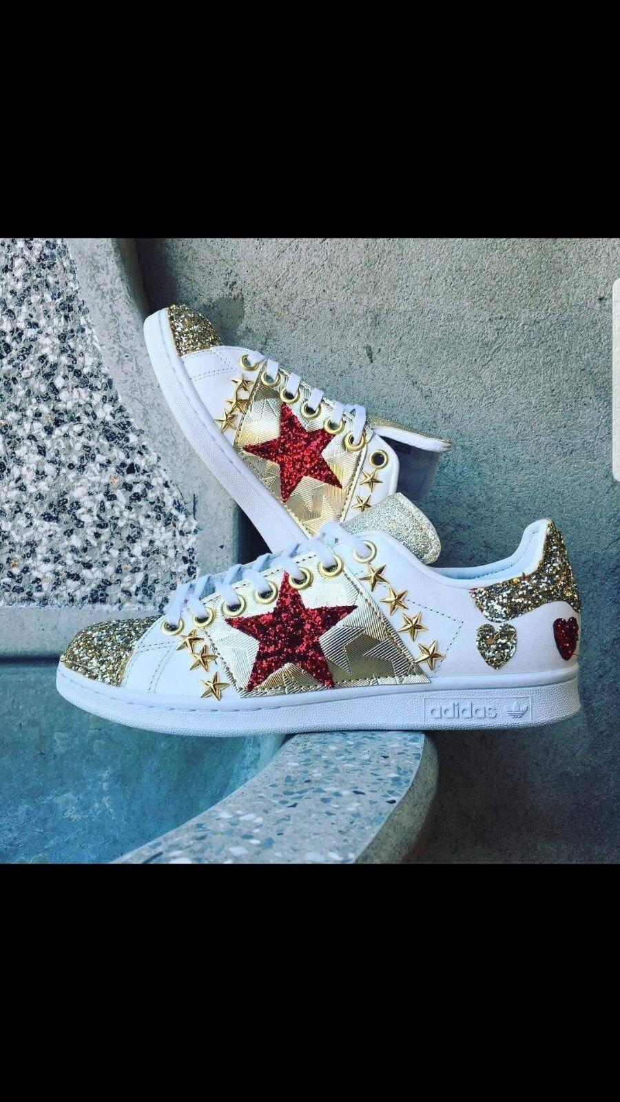 zapatos adidas glitter stan smith  con glitter adidas e borchie a stella a7b140