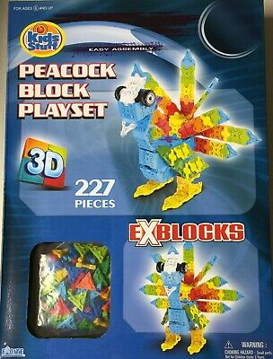 227 Pieces New* Kids Stuff Peacock Block Playset 3D Exblocks//ages 6+