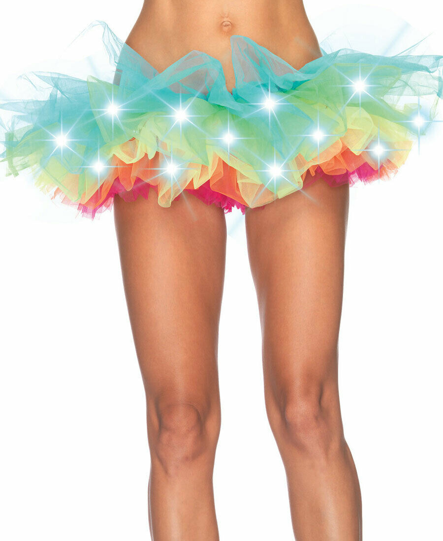 New Leg Avenue A1840 Led Light Up Neon Tutu Petticoat Skirt