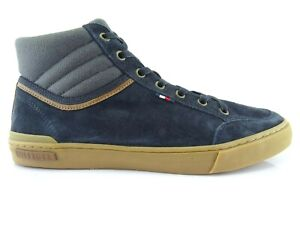 Tommy-Hilfiger-Men-039-s-Sneakers-High-Top-Leather-Low-Shoes-Lace-up-Blue-42