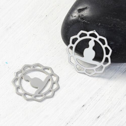 Pendentif en acier inoxydable Mandala U Nellys 5 pcs Bouddha environ 16 mm Bijoux À faire soi-même