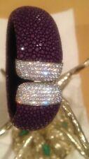 925 Sterling Corolli Purple  Genuine Stingray Leather Cuff Bracelet With CZ