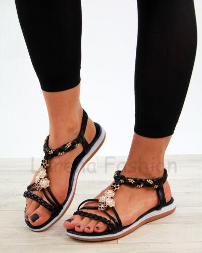 New Womens Summer Sandals Embellished Slingback Slip On Comfy Shoes Sizes 3-8