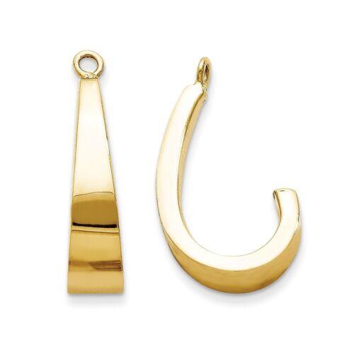 14kt Yellow Gold Polished J-Hoop Earring Jackets