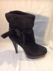 French-Connection-Dark-Grey-Ankle-Suede-Boots-Size-37