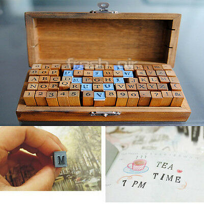 70pcs Rubber Stamps Set Vintage Wooden Box Case Alphabet Letters Number Craft