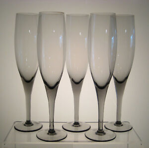 ELEGANCE-SMOKE-MIKASA-Champagne-Flutes-9-1-8-034-SET-of-FIVE-aka-ELEGANT-SMOKE