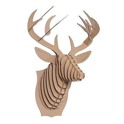 LARGE CARDBOARD SAFARI ANIMAL   Buck the Deer, brown   trophy, wall mounted
