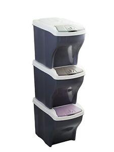 poubelle recyclage ecologique tri selectif 3 bacs 60l - Poubelle Tri Selectif 3 Bacs