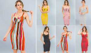 50168b210689 Striped Bodycon Midi Dress Bow Tie Front Sleeveless Stretch Slim Fit ...