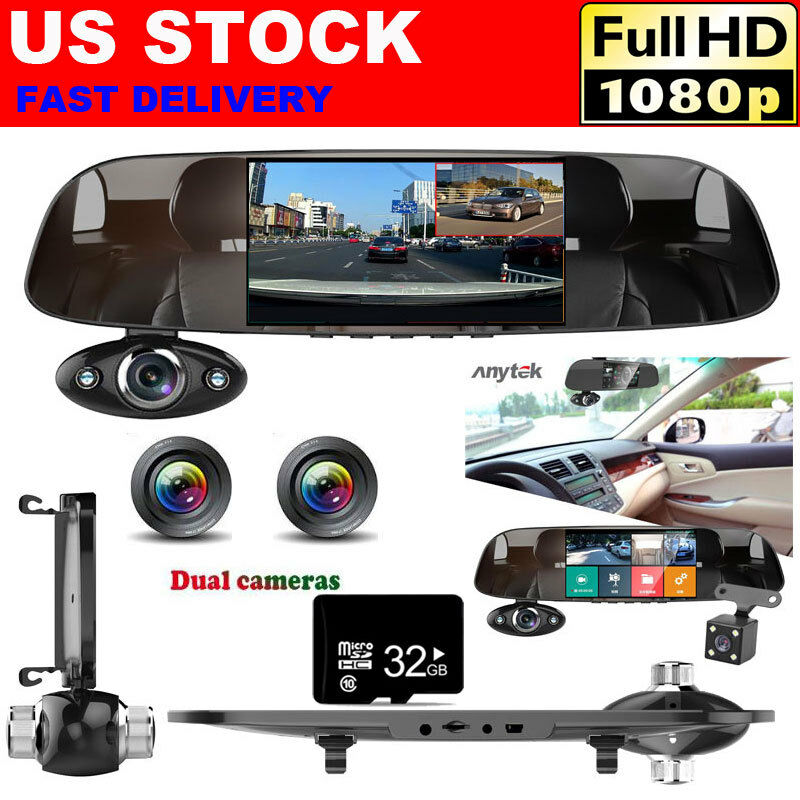 s-l1600 3 Lens 1080P Car Rear View Mirror DVR Camera Dash Cam Inside Anytek B33 + 32GB