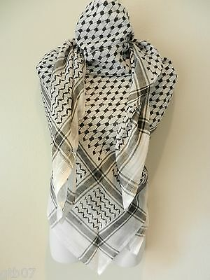 Unisex White Black Shemagh  Head Scarf Neck Wrap Authentic Polyester Cover LT-NO