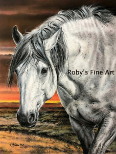 Wild-Mustang-034-Silver-034-8-034-x10-034-Giclee-Print-by-Wildlife-Artist-Roby-Baer-PSA