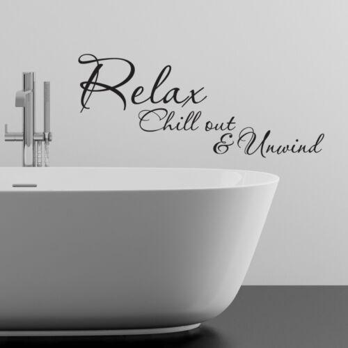 Détendez-vous Chillout Autocollant Mural Salle de bain détente Vinyle Art Décalcomanie Quotes w106