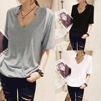 Zanzea S-5XL Women Short Sleeve V neck Casual Ladies Blouse Tee Shirt Cotton Top