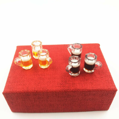 10 Dollhouse Miniature 1:12 Coffee Cola Glass Food Drink Cups Mug Bar Accessory