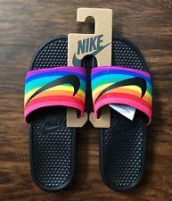 nike slippers rainbow