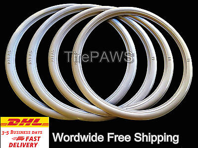 "ATLAS Front 19"" Back 15"" Motorcycle White Wall Portawall Tire insert Trim Set."