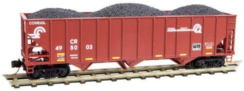 Micro-Trains N Scale 108 00 321 /& 322 Conrail 100 Ton 3 Bay Hoppers W// Coal 2Pk