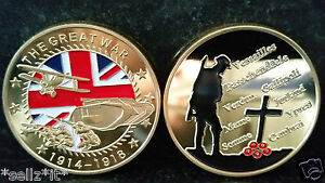 World War 1 THE GREAT WAR British Remembrance Troops Union Jack Gold Coin Poppy - <span itemprop=availableAtOrFrom>UK Cardiff, United Kingdom</span> - Returns accepted Most purchases from business sellers are protected by the Consumer Contract Regulations 2013 which give you the right to cancel the purchase within 14 days after the d - UK Cardiff, United Kingdom