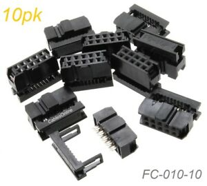 10 Pack 10 Pin Female Idc 2 54mm Pitch Connectors For Flat Ribbon Cable Ebay