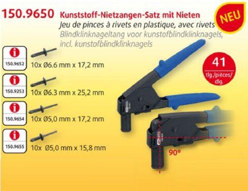 KS TOOLS NEU Kunststoff-Nietzangen-Satz mit Nieten 41-tlg Nietzange 150.9650 WOW