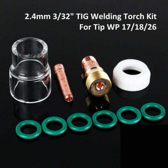10Pcs TIG Welding Torch Stubby Gas Lens Pyrex Glass Cup Set For WP-17 18 26 Part