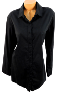 Comfy black back sheer pleated 3/4 sleeves plus buttoned down tunic top 1X