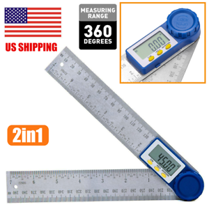 "Electronic Digital Angle Finder 8/"" Protractor Ruler Stainless LCD With batteries"